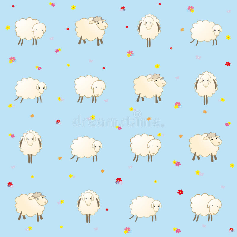 blue baby wallpaper with sheep stock vector illustration. Black Bedroom Furniture Sets. Home Design Ideas