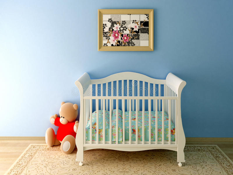 Blue babyroom. Render of blue baby room with Teddy bear and picture stock photos