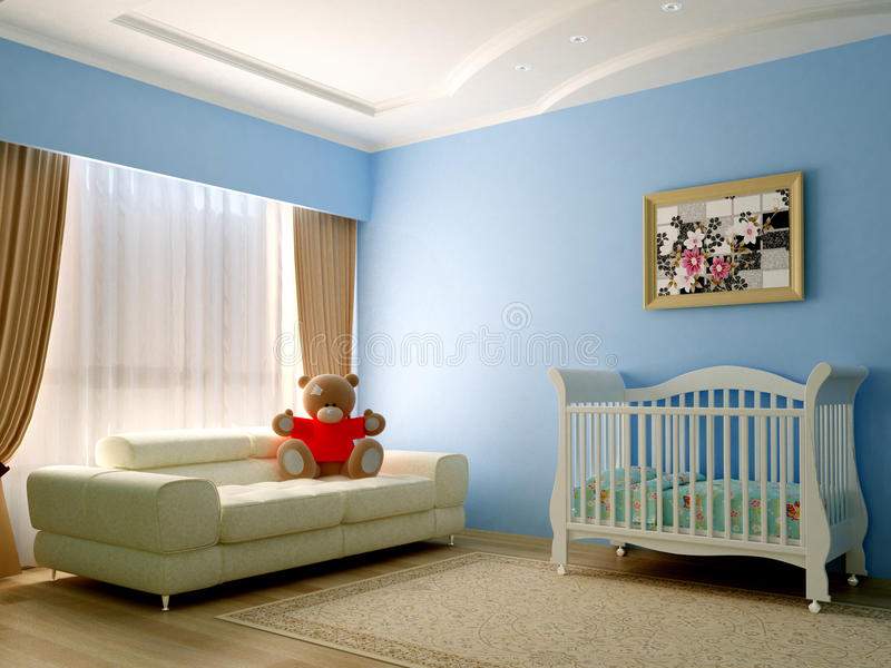 Blue babyroom. Render of blue baby room royalty free stock photos