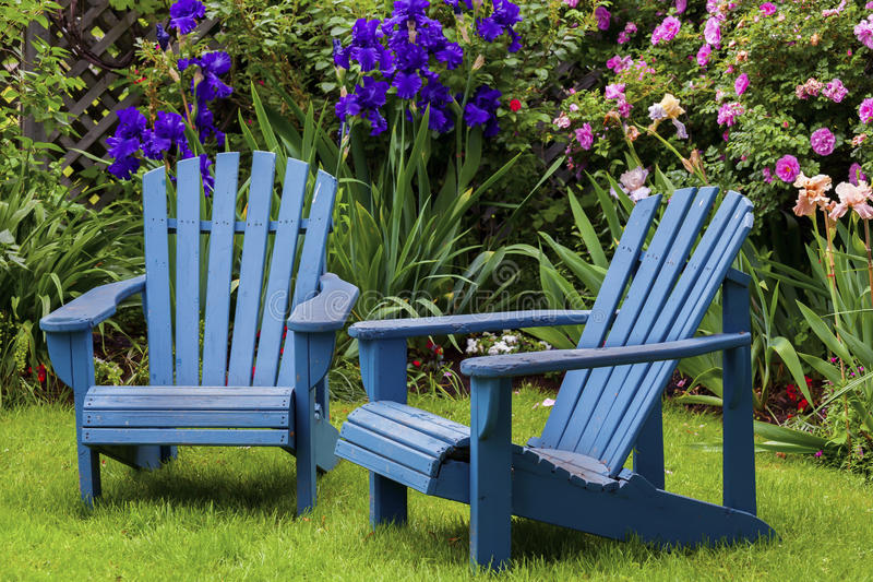 Download Blue Back Yard Chairs Stock Image. Image Of Relaxation   39108637