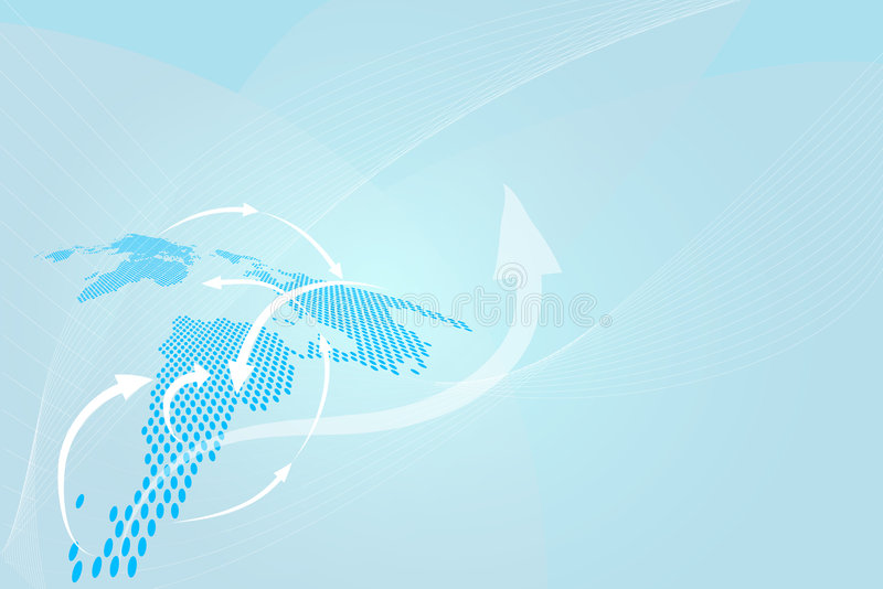 Blue background. Blue global background with gradient blended lines and a map of globe with lines radiating in different directions , business flourishing in