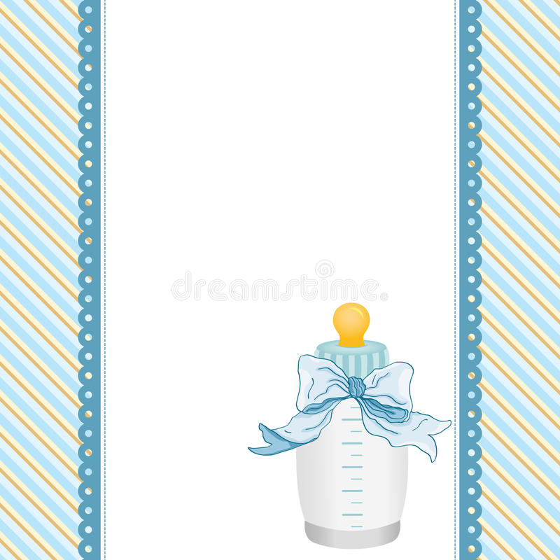 Blue background with baby bottle milk and ribbon. Scalable vectorial image representing a blue background with baby bottle milk and ribbon royalty free illustration