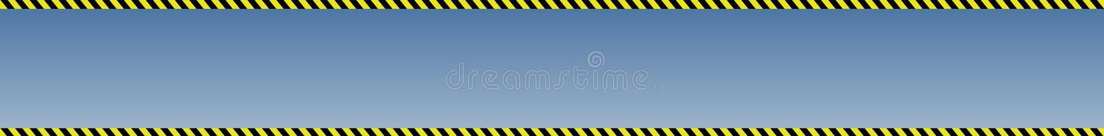 Blue background with banner with borders from black and yellow construction signal tape stock photography