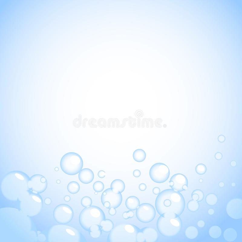 Blue background with bubbles and clean water stock illustration