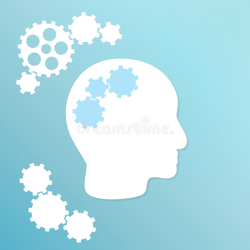Blue background with cogwheel and head stock illustration