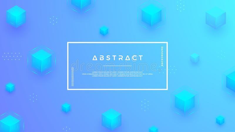 Blue background with a combination modern cubes. Abstract geometric backgrounds in 3D style royalty free illustration