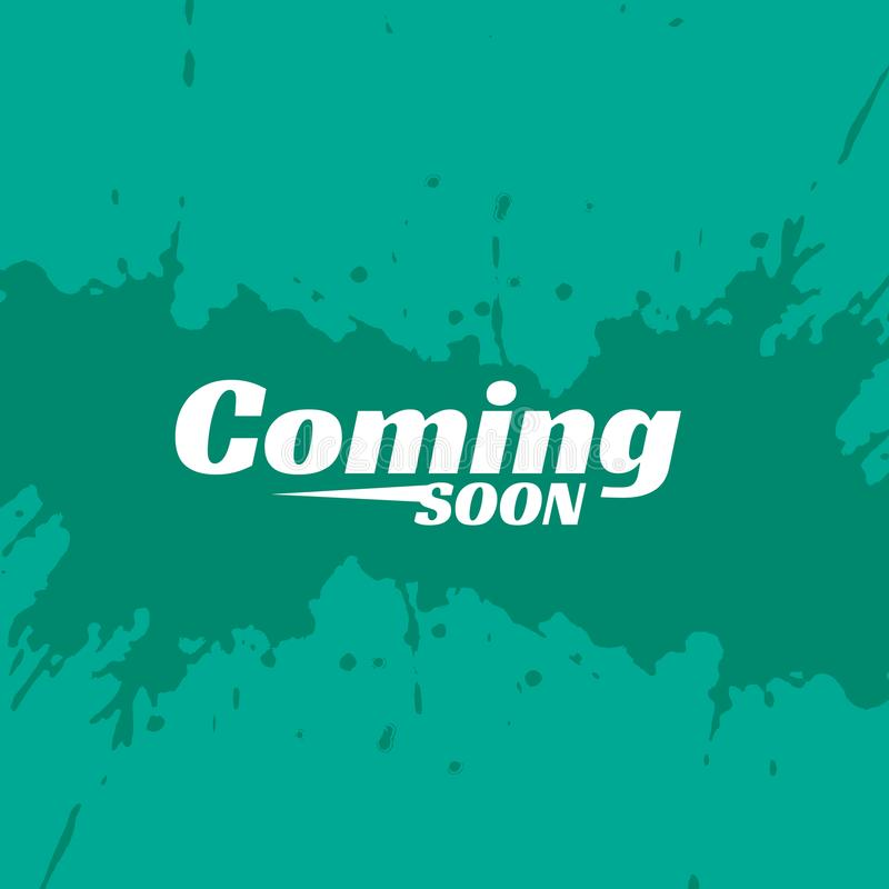 Blue background with coming soon text and ink splash stock illustration