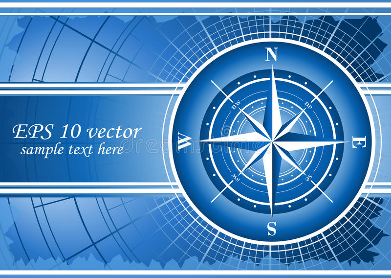 Blue background with compass rose. stock illustration