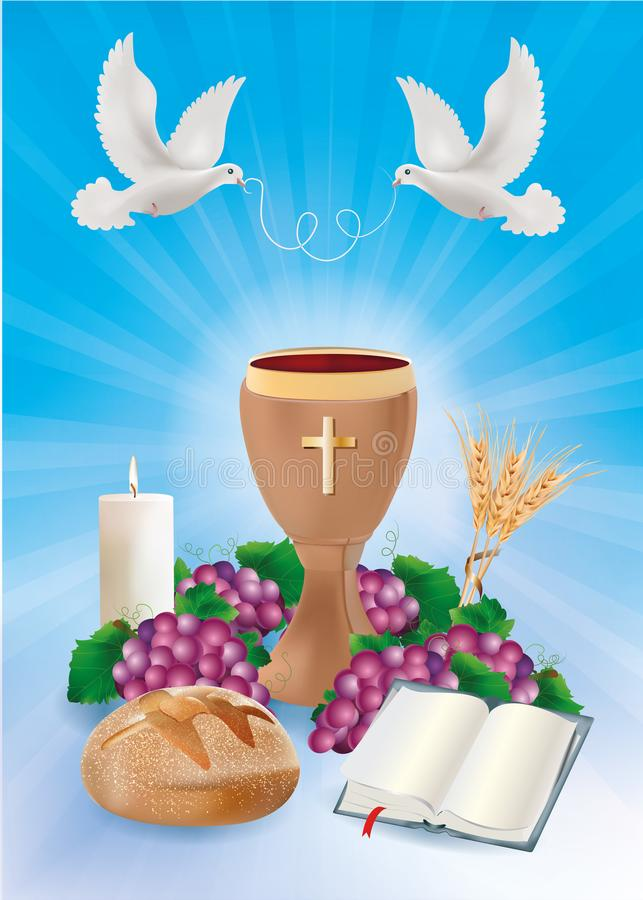 Free Blue Background Concept Christian Symbols With Wooden Chalice Bread Bible Grapes Candle Dove Stock Photos - 126724823
