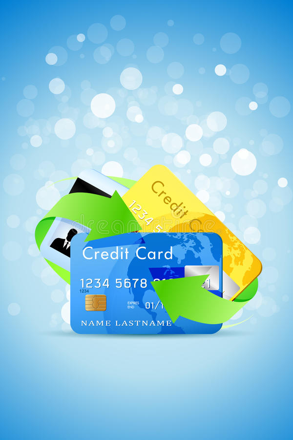 Blue Background with Credit Cards and Green Arrows vector illustration