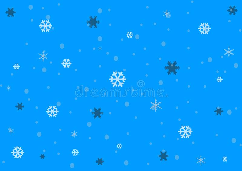 Blue background design showing snow fall vector illustration