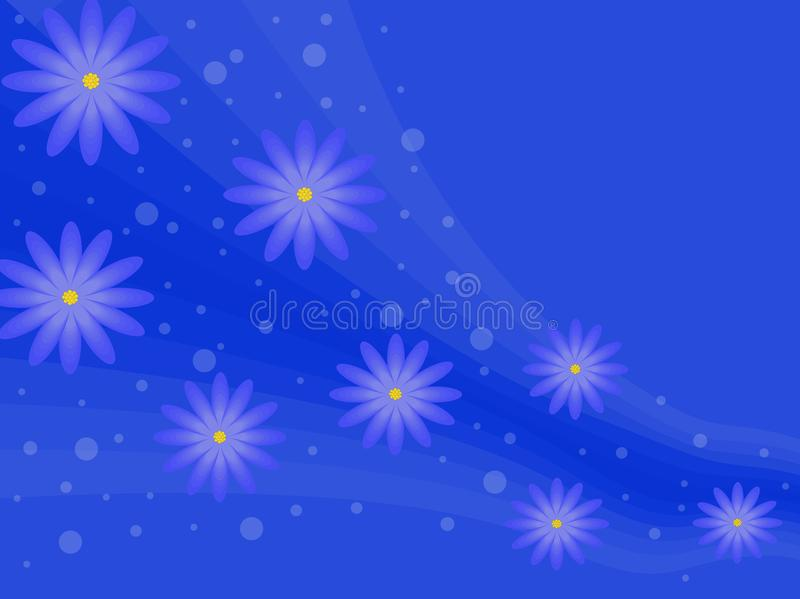 Blue background with flowers. stock photo