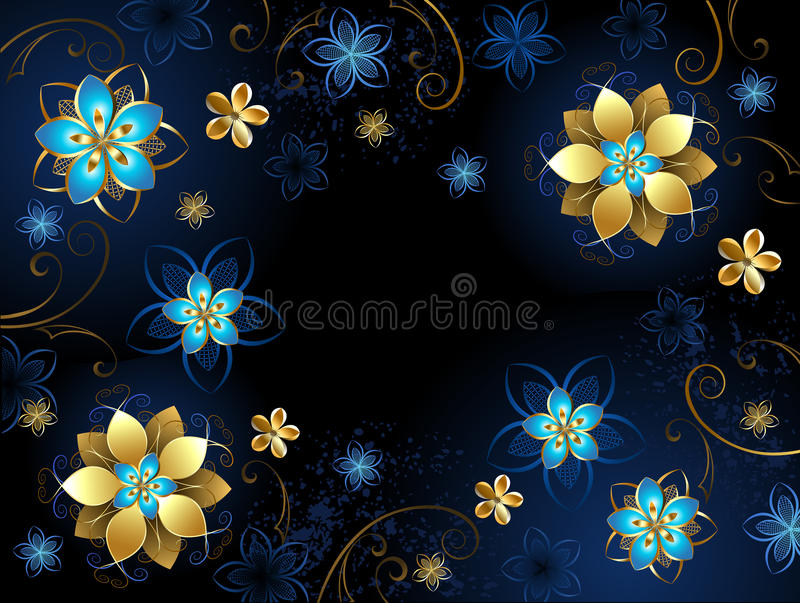 Blue Background With Flowers Stock Vector Illustration of