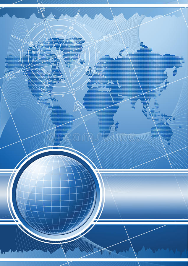Blue background with globe and compass rose. stock illustration