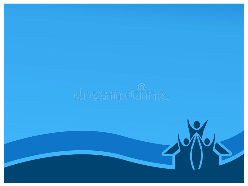 Blue background with house and people. Flat background royalty free illustration