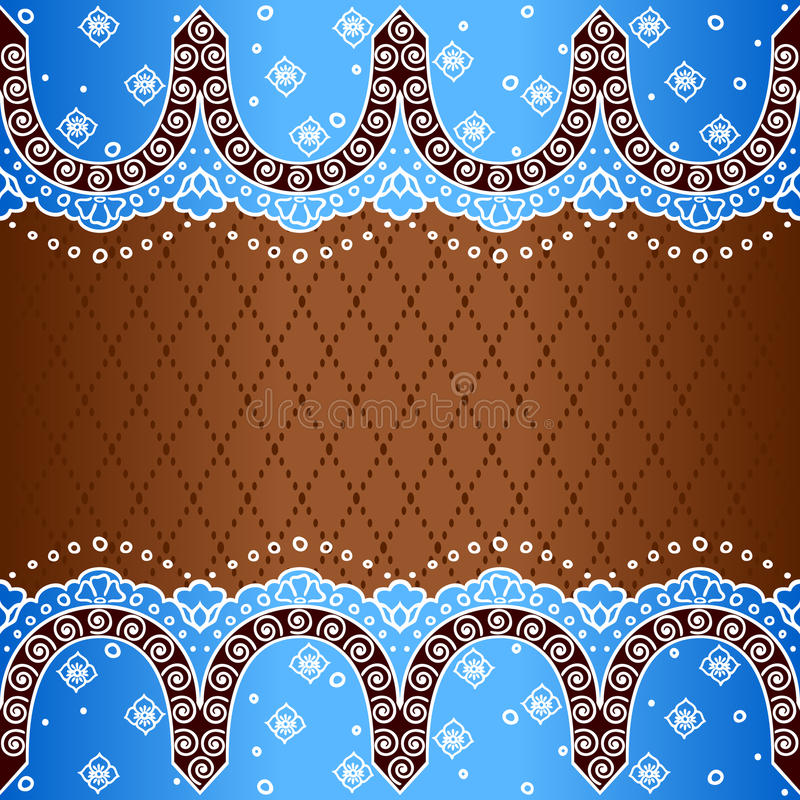 Blue background inspired by Indian mehndi designs stock illustration