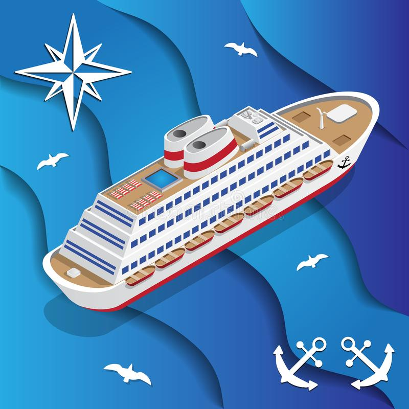 Cruise liner on the waves. On a blue background. Isometric. Vector illustration vector illustration