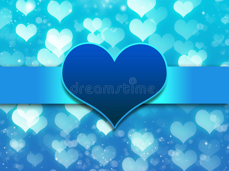 Blue background with love heart stock photography