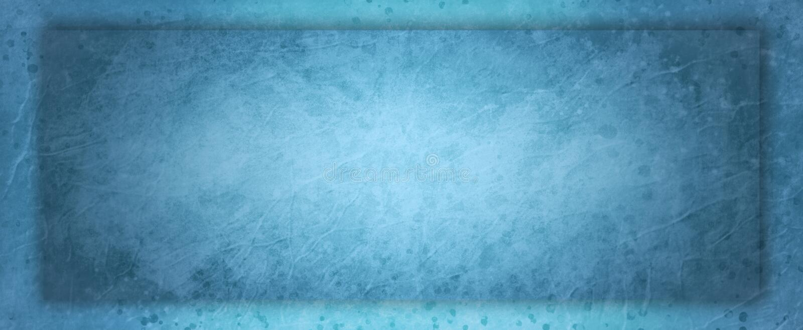 Blue background with old vintage grunge texture and paint spatter drips and drops with 3d shadow rectangle border frame royalty free illustration