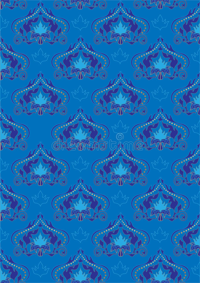 Blue background with oriental ornaments.Background. Blue background with oriental flourishes ornaments.Background. Wallpaper royalty free illustration