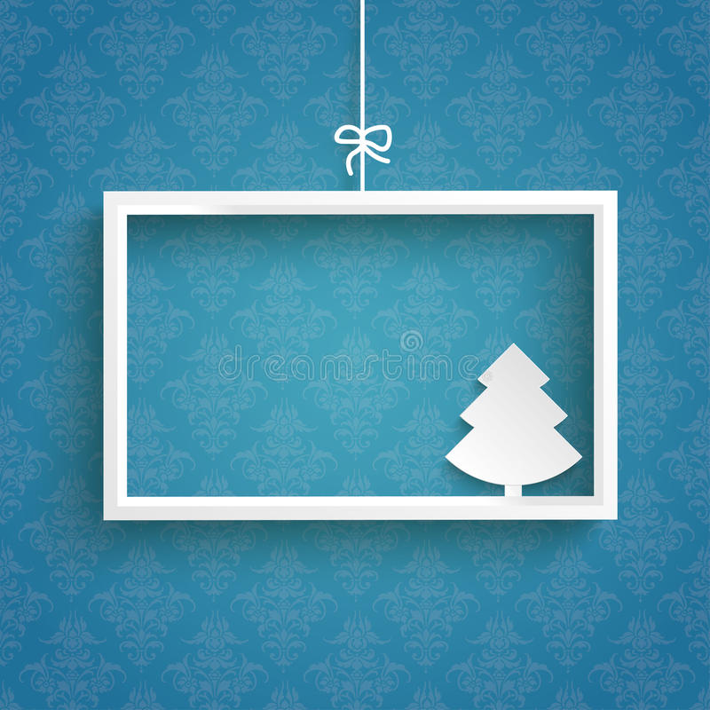Blue Background Ornaments White Frame Christmas Tree vector illustration