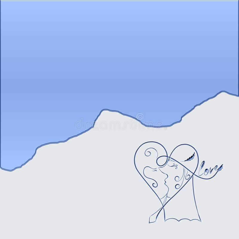 Blue background with a pattern, kissing a couple in the heart.  stock illustration