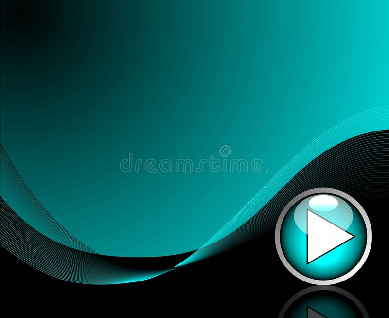 Blue background with play button. And wave stock illustration