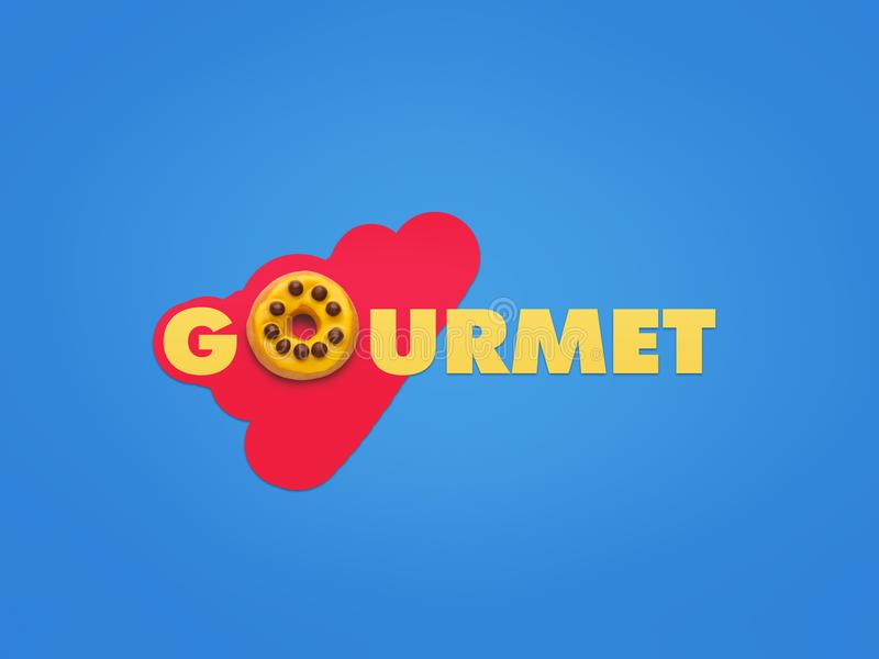 Word Gourmet on creative background stock photos