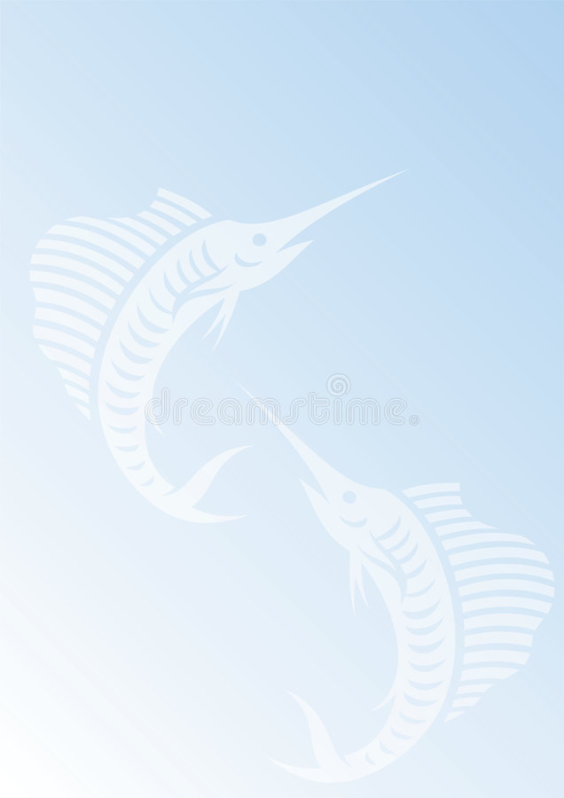 Blue Background With Sailfishes Stock Photo