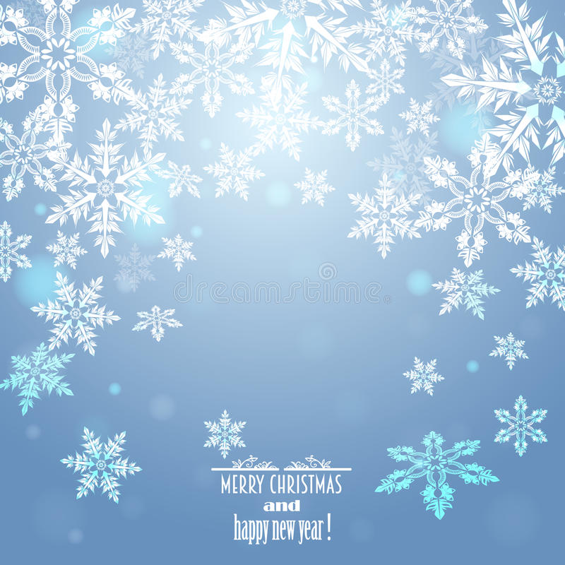 Blue background with snowflakes stock photography