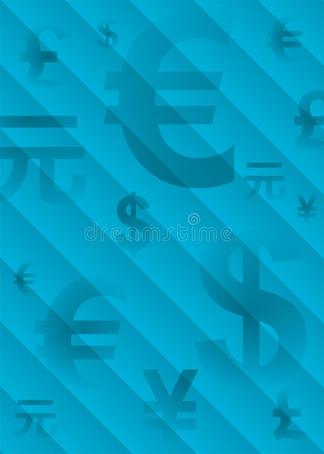 Blue Background With Symbols Of World Currencies Stock Vector