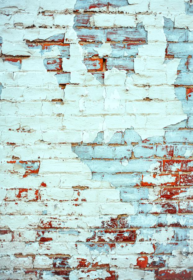 Blue background with terra cotta red brick wall royalty free stock image
