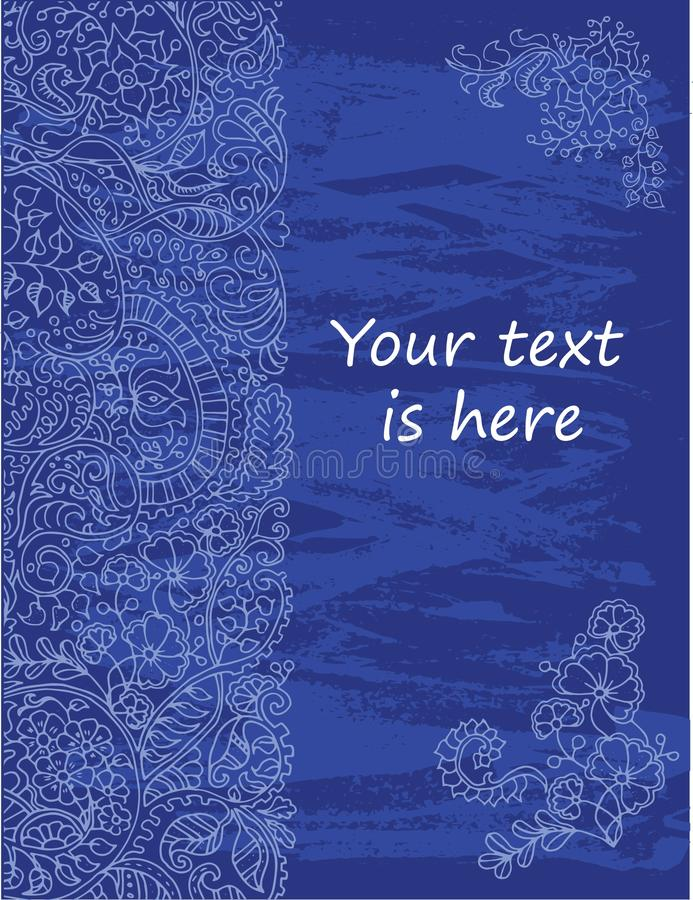 blue background with texture and floral pattern for card
