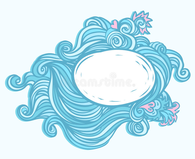 Blue background with waves stock illustration
