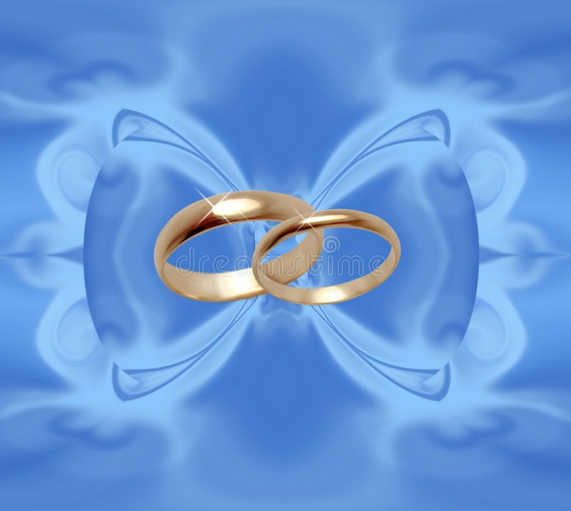 Blue background with wedding rings vector illustration