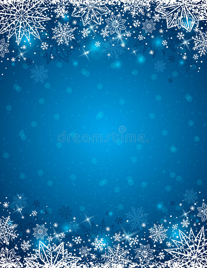 Free Blue Background With Frame Of Snowflakes And Stars, Vector Stock Photography - 79306312