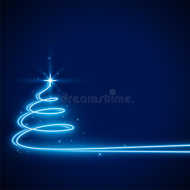 Free Blue Background With Neon Christmas Tree Design Stock Photography - 162111122