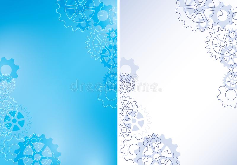 Blue a4 backgrounds with cogwheels - vector abstract illustrations vector illustration