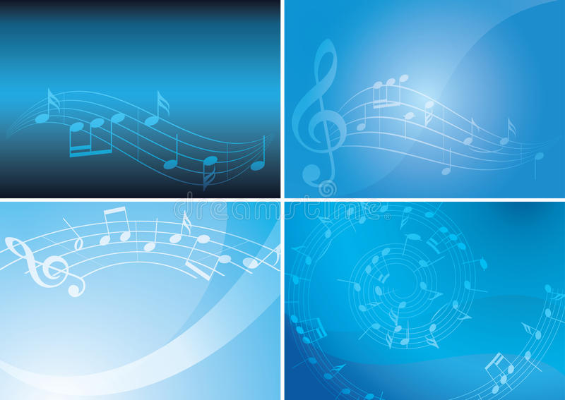 Blue vector backgrounds with musical notes and gradient - set. Blue backgrounds with musical notes and gradient - vector set vector illustration