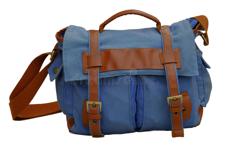 Blue backpack royalty free stock photo
