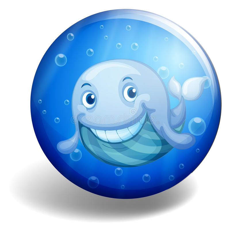 Blue badge with happy whale stock illustration