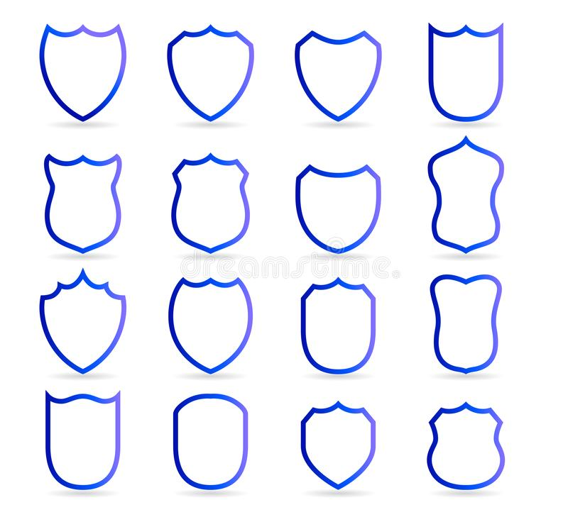 Blue badge patches vector outline templates. Sport club, military or heraldic shield and coat of arms blank icons vector. Blue badge patches vector outline royalty free illustration