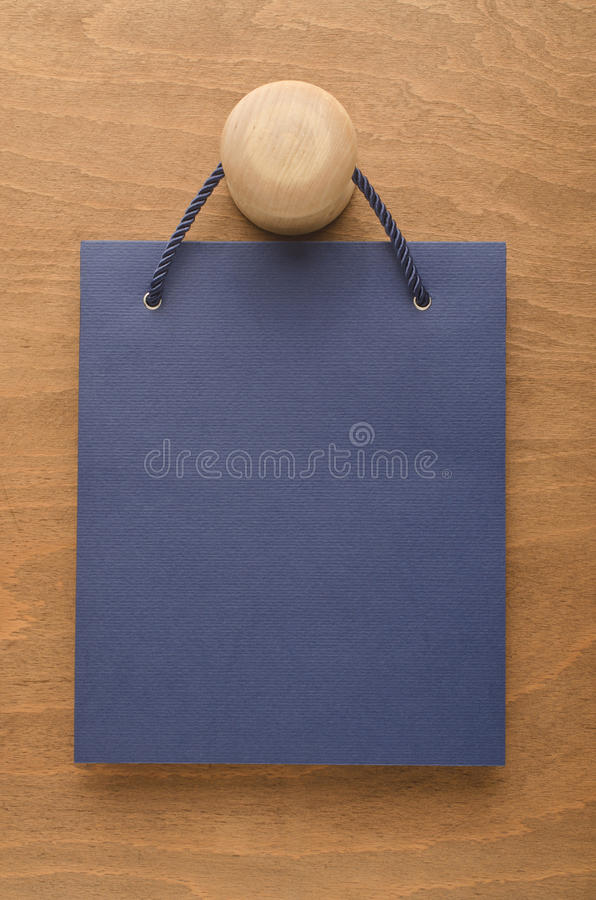 Blue bag with rope royalty free stock photo