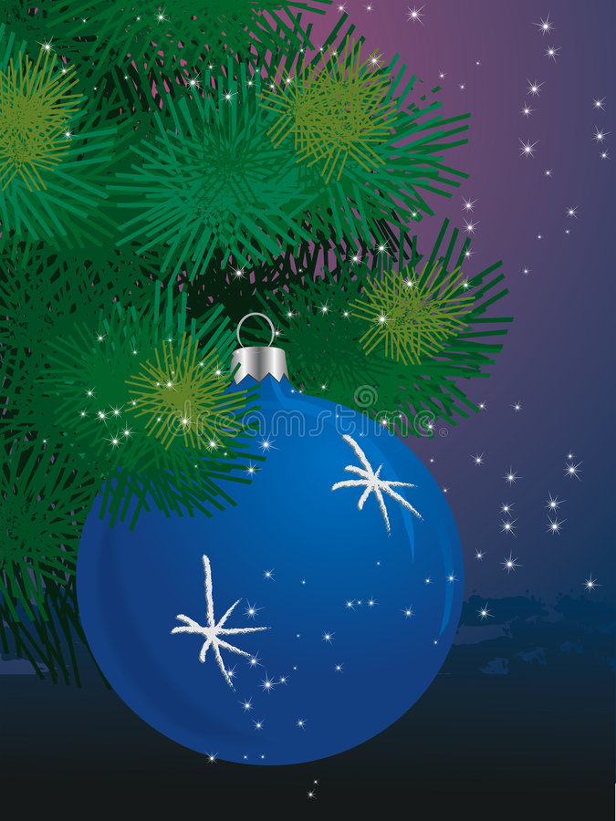 Download Blue Ball On Christmas Tree Stock Vector - Image: 3784460