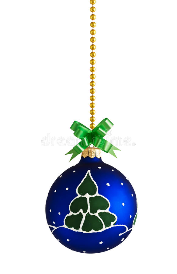 Blue ball decoration for a christmas tree royalty free stock image