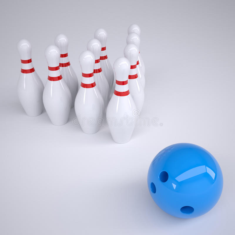 Blue ball and skittles for bowling vector illustration