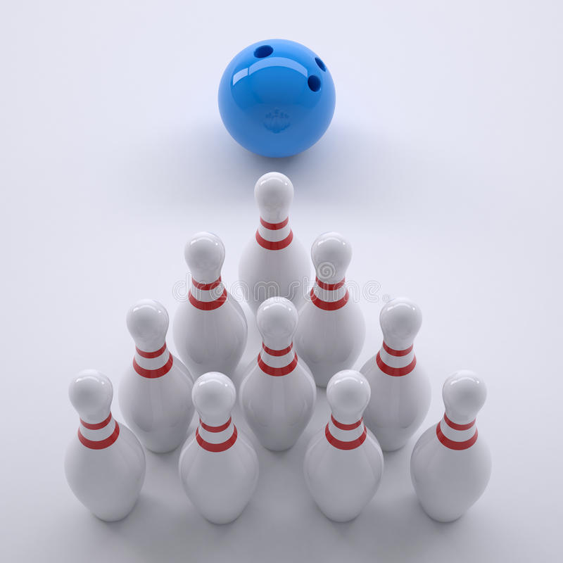 Blue ball and skittles for bowling royalty free illustration