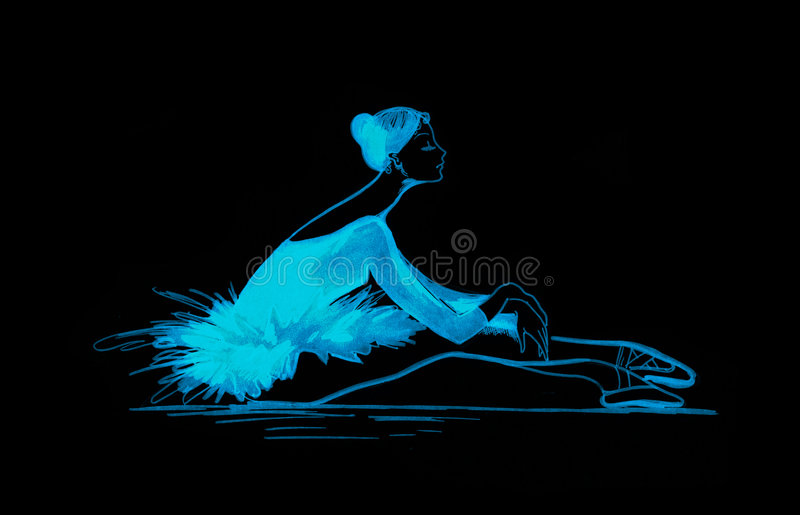 Blue ballet dancer royalty free stock photography