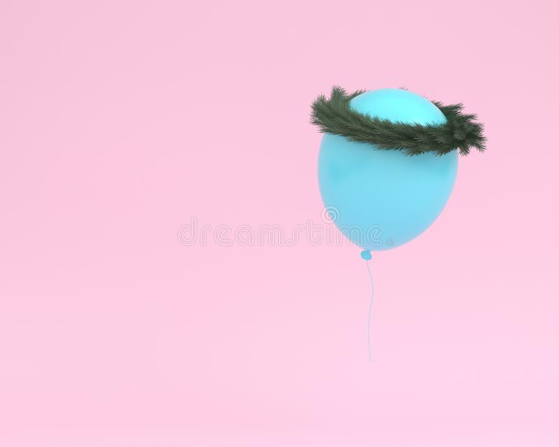 Blue balloon floating with plants crown on pink color background. Creative layout made for festival like birthday or christmas celebration party. minimal party stock illustration