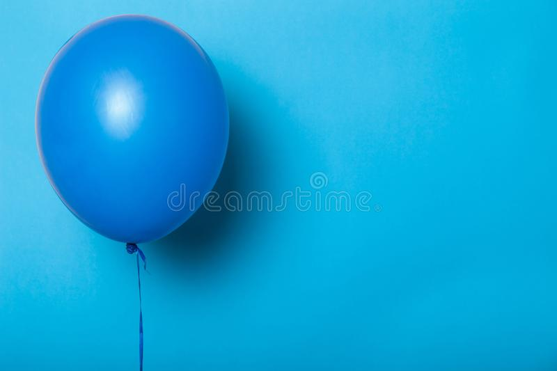 Blue balloon isolated mockup, empty space for text, logo.  royalty free stock photos